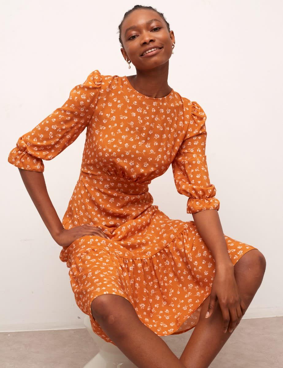 Rust Orange Floral Selena Midi Dress