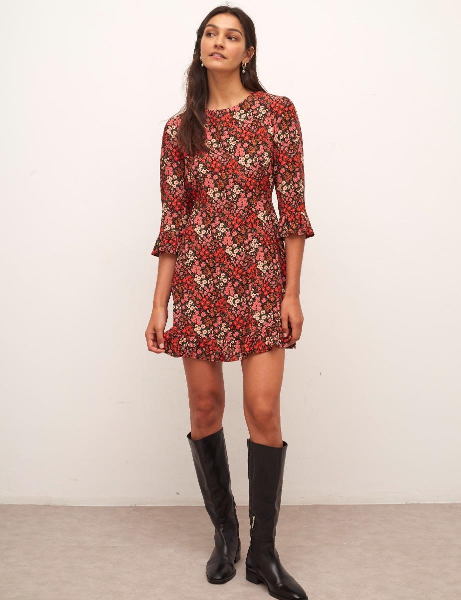 Lenzing™ Ecovero™ Burnt Orange Floral Fleur Mini Dress