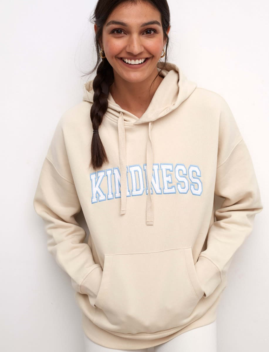 Cream Kindness Embroidered Hoodie