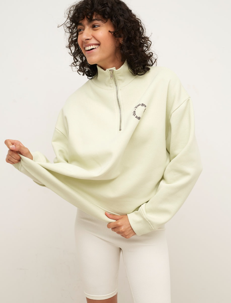 Light Apple You Got This Embroidered Quarter Zip Sweater