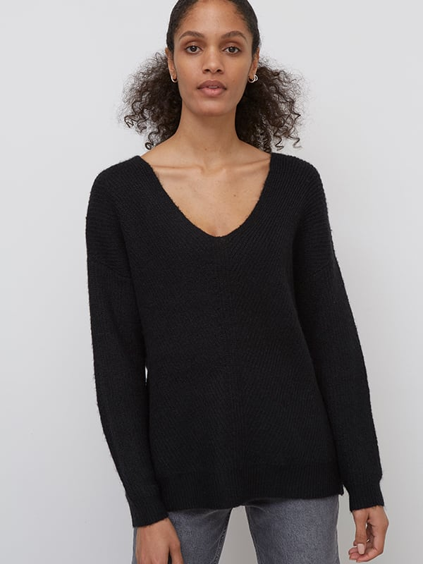 Black Long V Neck Fisherman Sweater