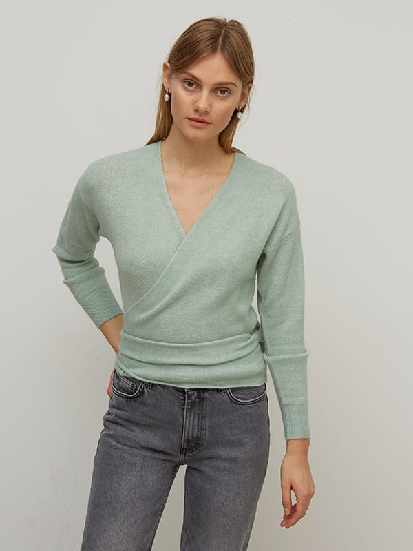Mint Wrap Knitted Cardigan