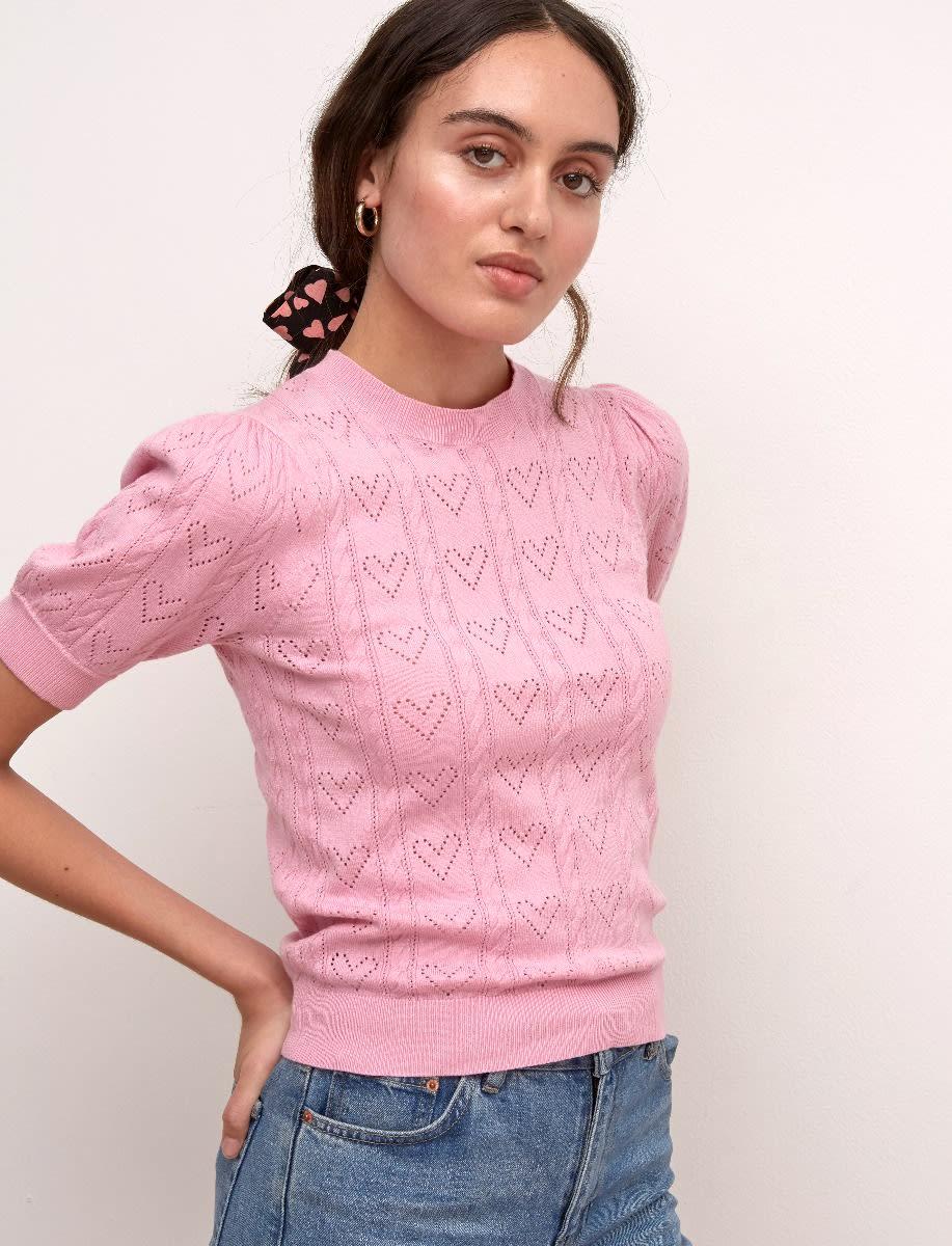 Pointelle Short Sleeve Sweater