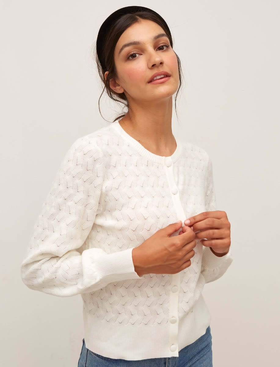 Cream Long Sleeve All Over Pointelle Cardigan