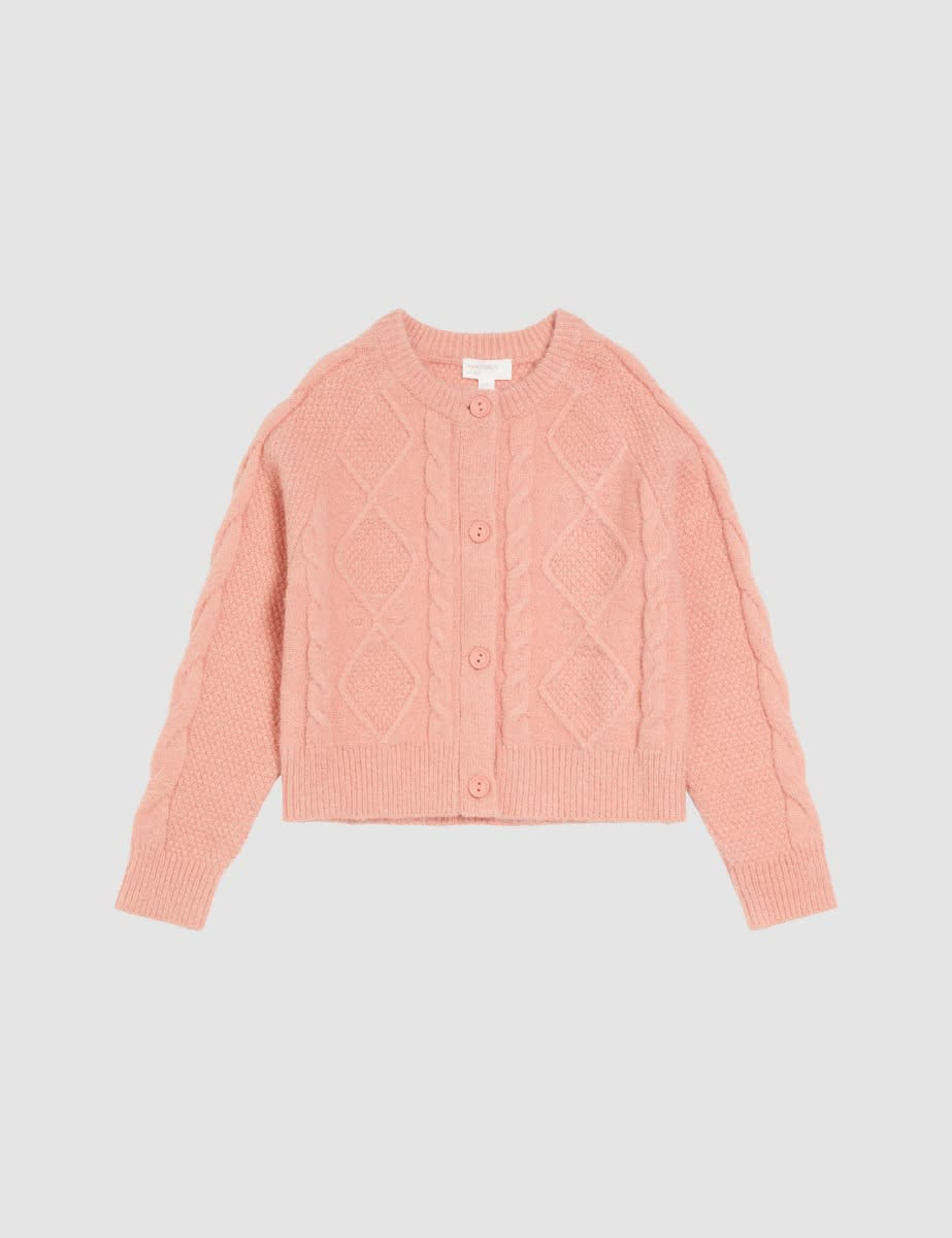 Somebody's Child Pink Chunky Cable Stitch Cardigan