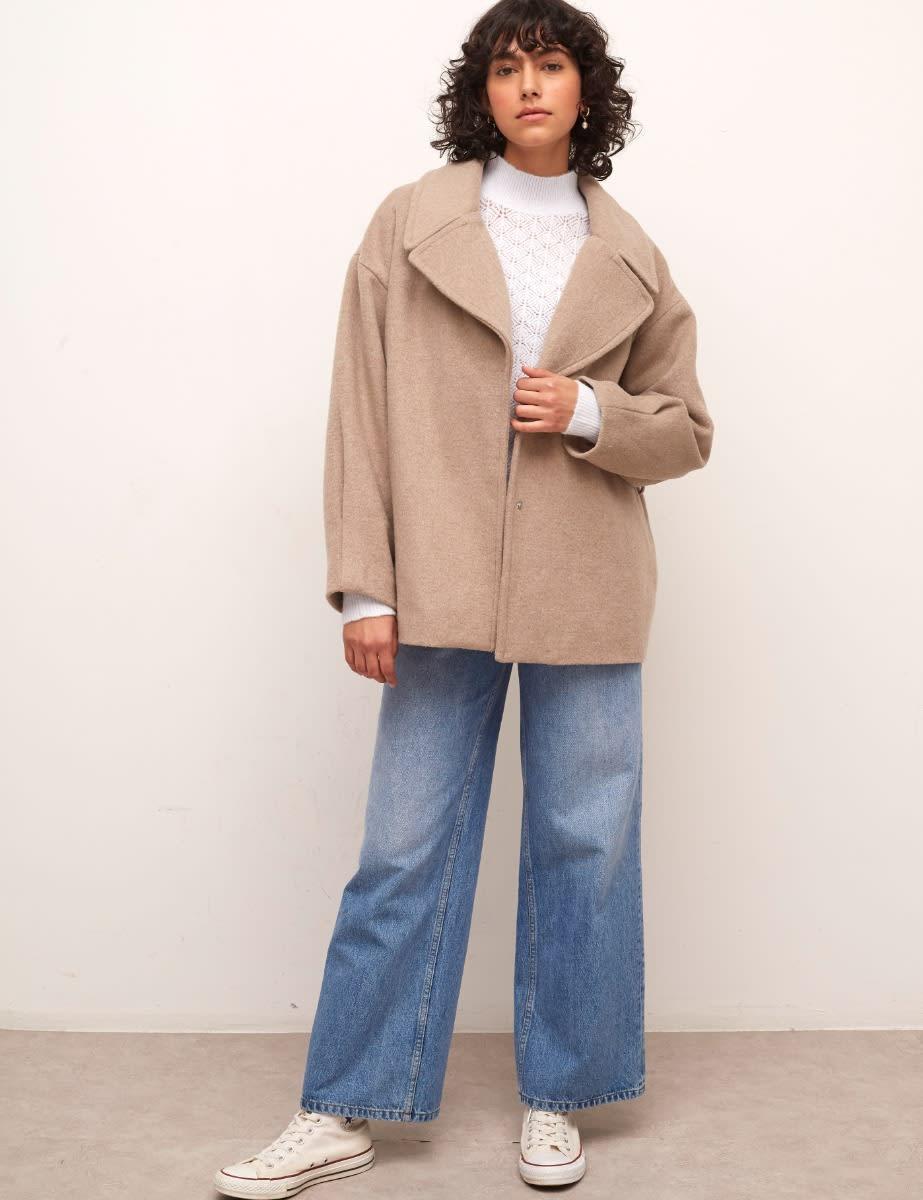 Oatmeal Hadrian Belted Short Wool Coat