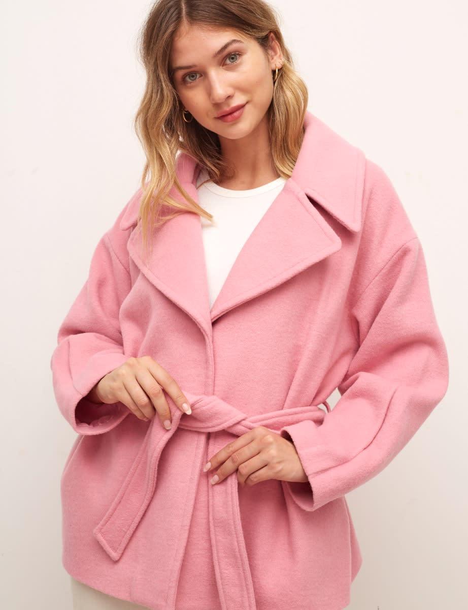 Pink Hadrian Belted Short Wool Coat