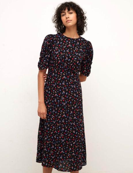Evie Ruched Sleeve Midi Dress