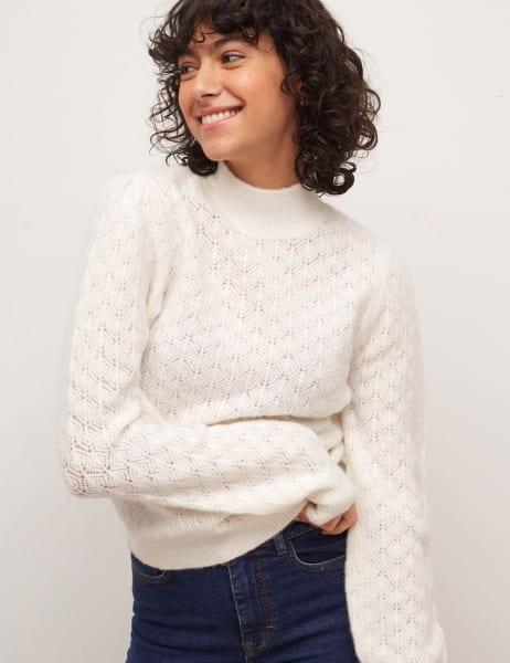 Sleeve Detail Pointelle Sweater