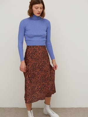 Brown Tortoiseshell Katy Bias Satin Midi Skirt