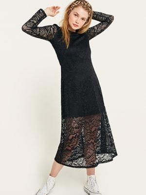 Black Lace Louisa Midi Dress