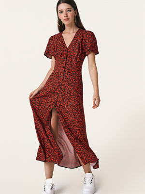 Black and Red Floral Leana Maxi Dress