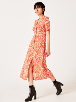 Red and White Floral Alexa Midi Dress