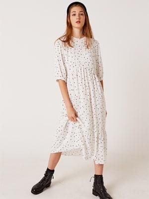 Black and White Mini Spot Rachel Babydoll Midi Dress