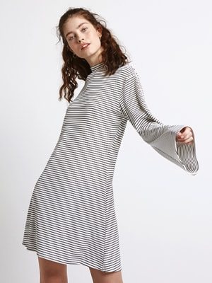 White Stripe Rib Wide Sleeve Dress