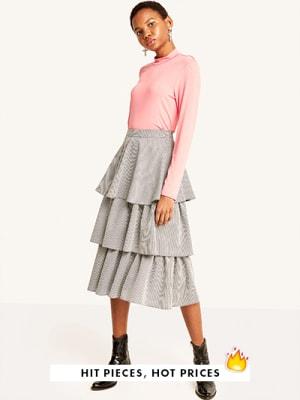 Black Gingham Tiered Midi Skirt