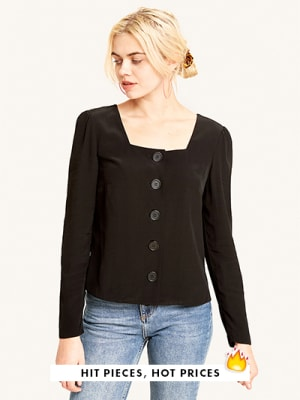 Black Square Neck Button Front Top