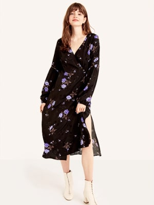 Black Lolita Bloom Tie Sleeve Detail Midi Wrap Dress