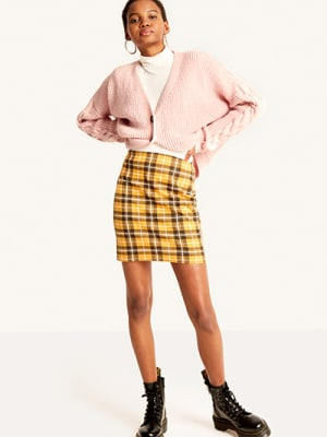 Mustard Check Tube Skirt