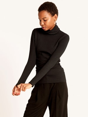 Black Rib Roll Neck Top