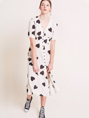 Black and Cream Alexa Heart Print Midi Dress