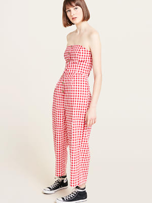 Red Gingham Maisie Bandeau Jumpsuit