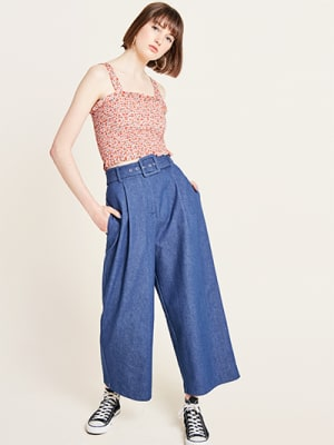 Blue Wide Leg Denim Belted Trousers