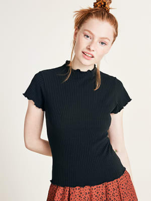 Black Short Sleeve Rib T Shirt
