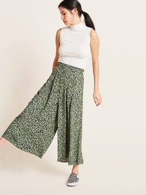 Khaki Animal Zeena Wide Leg Trouser