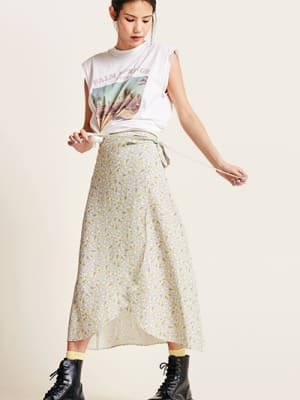 Grey and Mustard Floral Leona Midi Skirt