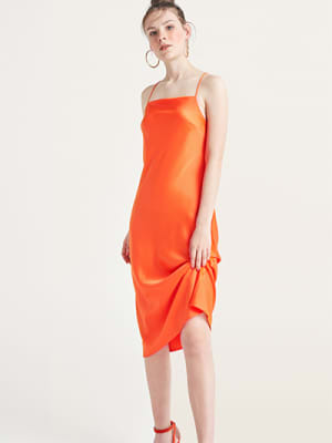 Orange Electra Satin Bias Midi Dress