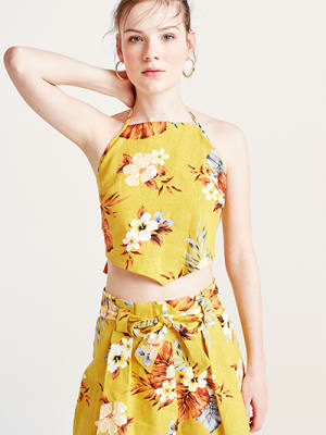 Yellow Tropical Winnie Linen Blend Crop Top