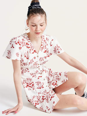 Red and White Scenic Leana Linen Blend Mini Dress