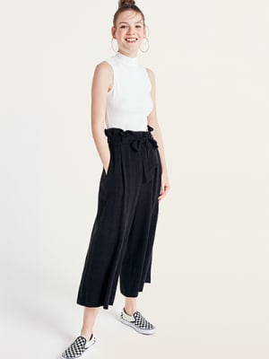 Black Poppy Linen Blend Paperbag Culotte