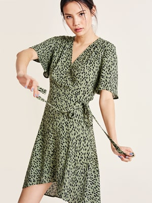 Khaki Animal Simone Wrap Mini Dress