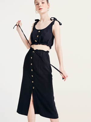 Black Kiera Linen Blend Midi Skirt