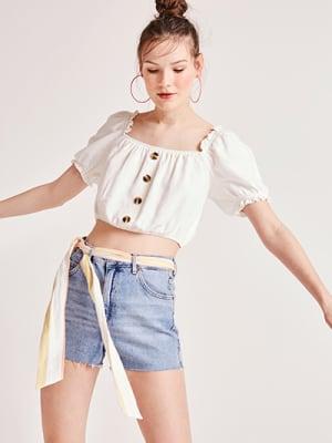 Ivory Jasmine Linen Blend Bardot Crop Top
