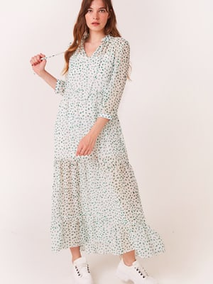 White and Green Spot Elin Tiered Maxi Dress