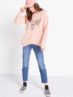Pink Embroidered Floral Oversized Jumper