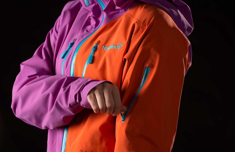 Norrona lofoten yellow ski jacket in Gore-Tex with back logo