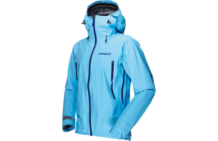 Waterproof jacket for women in blue - Norrona falketind