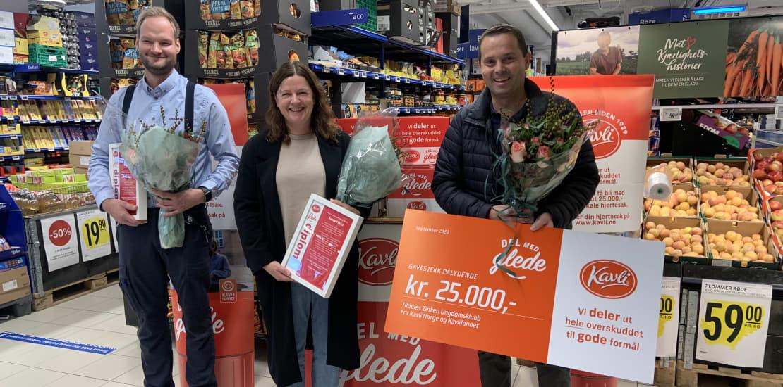 Kavli deler ut støtte lokalt: 25.000 til ungdomsklubb
