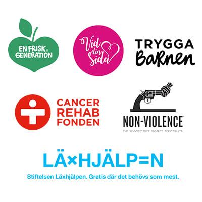 Organisationer som fick pengar från Kavlis utdelning. Trygga barnen, En frisk generation, Vid din sida, Non-Violence, Cancer rehab fonden, Läxhjälpen