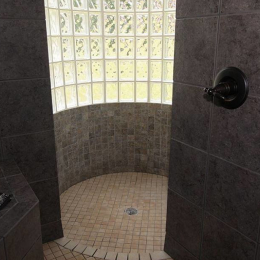 master shower at The Villa at Waters Edge - a Luxury Vacation Rental on Lake Wylie in Belmont NC