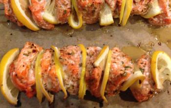 Potato and Salmon Kabobs