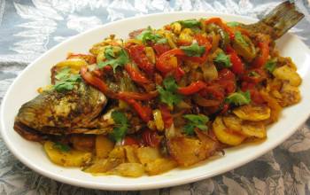 Tajin Samak (Moroccan Oven-Poached Fish with Cilantro)