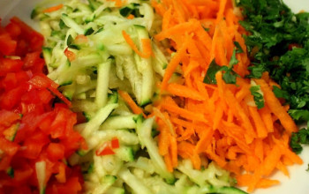 Warm Carrot, Zucchini and Red Pepper Salad