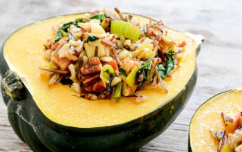 Acorn Squash Stuffed with Pears, Wild Rice, & Walnuts