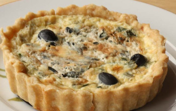 Mock Crab and Black Olive Quiche