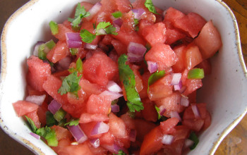 Watermelon, Cantaloupe, and Red Pepper Salsa